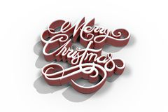 Merry Christmas text in red and white color Royalty Free Stock Photo