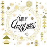 Merry Christmas text into round ice trace frame. Winter gold glittering lettering design.Vector illustration with typography element, snowflakes and Christmas Stock Images