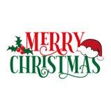 Merry Christmas text, Sana`s cap, and mistletoe, on white backgound.