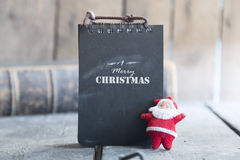 Merry Christmas text and santa, vintage style Stock Images