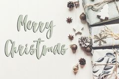 Merry christmas text, seasonal greetings card sign. stylish mode Royalty Free Stock Images