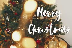 Merry christmas text, seasons greetings, beautiful stylish chris Royalty Free Stock Images