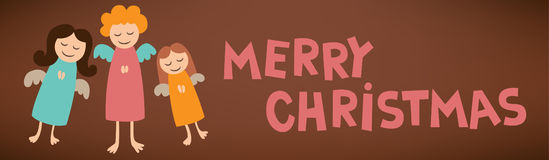 Merry christmas text sign post card with angels Royalty Free Stock Image