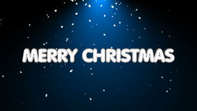 Merry christmas text with snow and light stock video footage