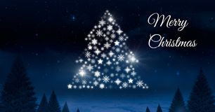 Merry Christmas text and Snowflake Christmas tree pattern shape glowing in Winter night sky. Digital composite of Merry Christmas text and Snowflake Christmas Royalty Free Stock Images