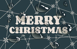 Merry Christmas text on snowflakes backdrop. Merry Christmas text. Snowflakes at the intersection of the lines. Transparent water drops Royalty Free Stock Photo