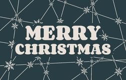 Merry Christmas text on snowflakes backdrop. Merry Christmas text. Vector illustration. Snowflakes at the intersection of the lines Royalty Free Stock Images