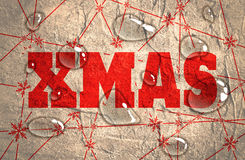 Merry Christmas text on snowflakes backdrop. Xmas text. Snowflakes at the intersection of the lines. Transparent water drops. Concrete textured Royalty Free Stock Image