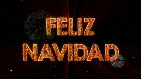 Merry Christmas text in Spanish Feliz Navidad loop animation over dark animated background stock illustration