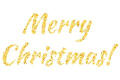 Merry Christmas text from the stars. Shining golden text. Confetti of stars. vector illustration
