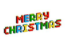 Merry Christmas text in style of old 8-bit video games. Vibrant colorful 3D Pixel Letters. Creative vector poster, flyer. Template. Retro arcade, platformer stock illustration