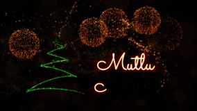 Merry Christmas' text in Turkish 'Mutlu Noeller' animation with pine tree and fireworks stock video