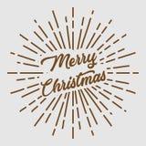 Merry christmas text typography sun circle retro vintage design Stock Photography
