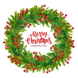 Merry christmas text with watercolor wreath of fir branches Royalty Free Stock Images
