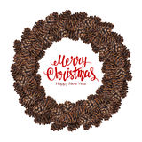 Merry christmas text with watercolor wreath of fir cone Royalty Free Stock Photography