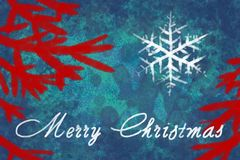 Merry Christmas text in white color on blue background with red christmas tree branches. Greating card vector illustration