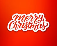 Merry Christmas text on white paper label Stock Photography