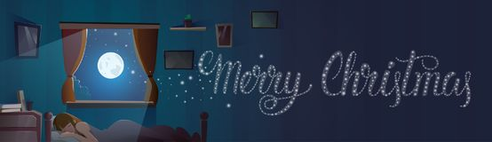 Merry Christmas Text In Window From Bedroom With Sleeping Girl Winter Holidays Banner. Flat Vector Illustration Stock Image