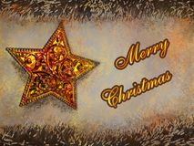 Merry Christmas text in yellow color on golden star and garlands background. Greating card stock illustration