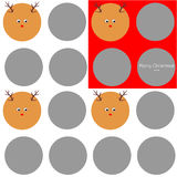 Merry Christmas texture. Simple texture with gray circles, red and white background, congratulating text and cute deers Vector Illustration