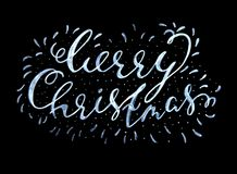 Merry Christmas textured handwritten calligraphic inscription on a black background. Vector illustration. Merry Christmas textured handwritten calligraphic Stock Photos