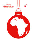 Merry Christmas theme with map of Africa Royalty Free Stock Photography