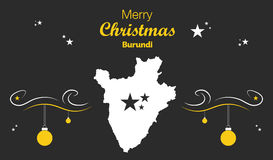 Merry Christmas theme with map of Burundi Royalty Free Stock Photography