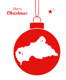 Merry Christmas theme with map of Central African R Stock Images