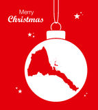 Merry Christmas theme with map of Eritrea Royalty Free Stock Images