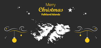 Merry Christmas theme with map of Falkland Islands Stock Photography