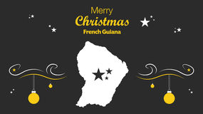 Merry Christmas theme with map of French Guiana Royalty Free Stock Image