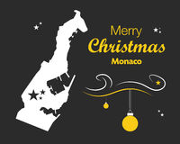 Merry Christmas theme with map of Monaco Royalty Free Stock Photography