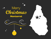 Merry Christmas theme with map of Montserrat Royalty Free Stock Photos