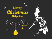 Merry Christmas theme with map of Philippines Stock Images