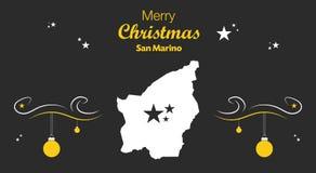 Merry Christmas theme with map of San Marino. Merry Christmas illustration theme with map of San Marino Stock Photo