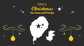 Merry Christmas theme with map of Sao Tome and Prin Stock Photo