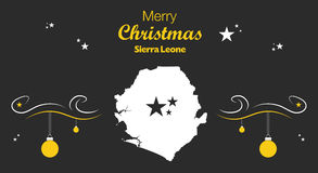 Merry Christmas theme with map of Sierra Leone Royalty Free Stock Photos