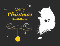 Merry Christmas theme with map of South Korea Royalty Free Stock Photography