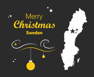 Merry Christmas theme with map of Sweden Royalty Free Stock Images