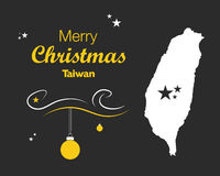 Merry Christmas theme with map of Taiwan Stock Photography