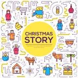 Merry Christmas thin line icons flat set background. Outline birth of Christ illustration background concept. Merry Christmas thin line icons flat set royalty free illustration