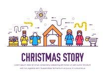 Merry Christmas thin line icons flat set background. Outline birth of Christ illustration background concept. Merry Christmas thin line icons flat set vector illustration