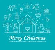 Merry Christmas thin line icons flat set background. Outline birth of Christ illustration background concept. Merry Christmas thin line icons flat set stock illustration
