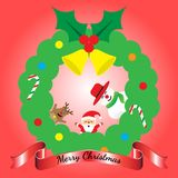 Merry Christmas - Three Friends Lean Out Of Wreath. Vector Illustration Of Merry Christmas, Three Friends, Cute Reindeer, Plump Santa Claus,  And Chubby Snowman Stock Images