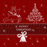 Merry Christmas. Christmas ticket with decorations  white Royalty Free Stock Photo