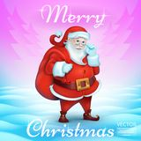 Merry Christmas Title in Blank. 3D Realistic Santa Claus Cartoon Cute Character. Purple, turquoise, snowy background. Vector Illustration Stock Photography