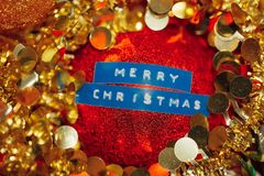 Merry Christmas title decoration ball sphere. Festive background Royalty Free Stock Image