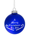 Merry Christmas To All. Blue christmas ball over white background royalty free stock images