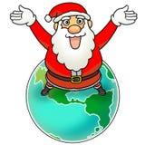 Merry Christmas to the world. Santa saying Merry Christmas to the world Royalty Free Stock Image