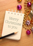Merry christmas to you. Christmas greetings with colorful decorations. Christmas Day, on December 25, is one of the most festive Christian holidays in many Stock Images